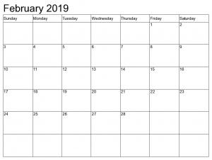 Blank Calendar February 2019