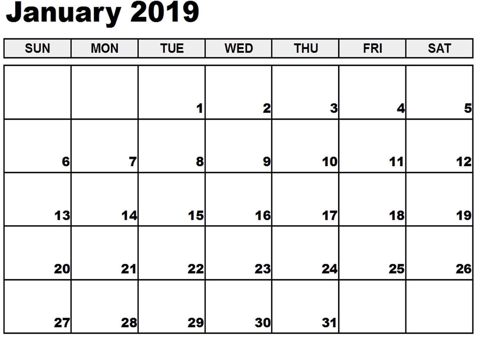 Blank Calendar January 2019 Pdf
