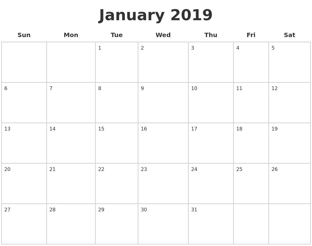 Blank Calendar January 2019 Printable
