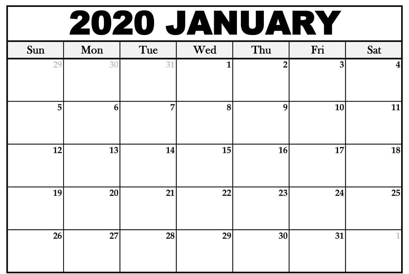 Blank Calendar January 2020 Pdf