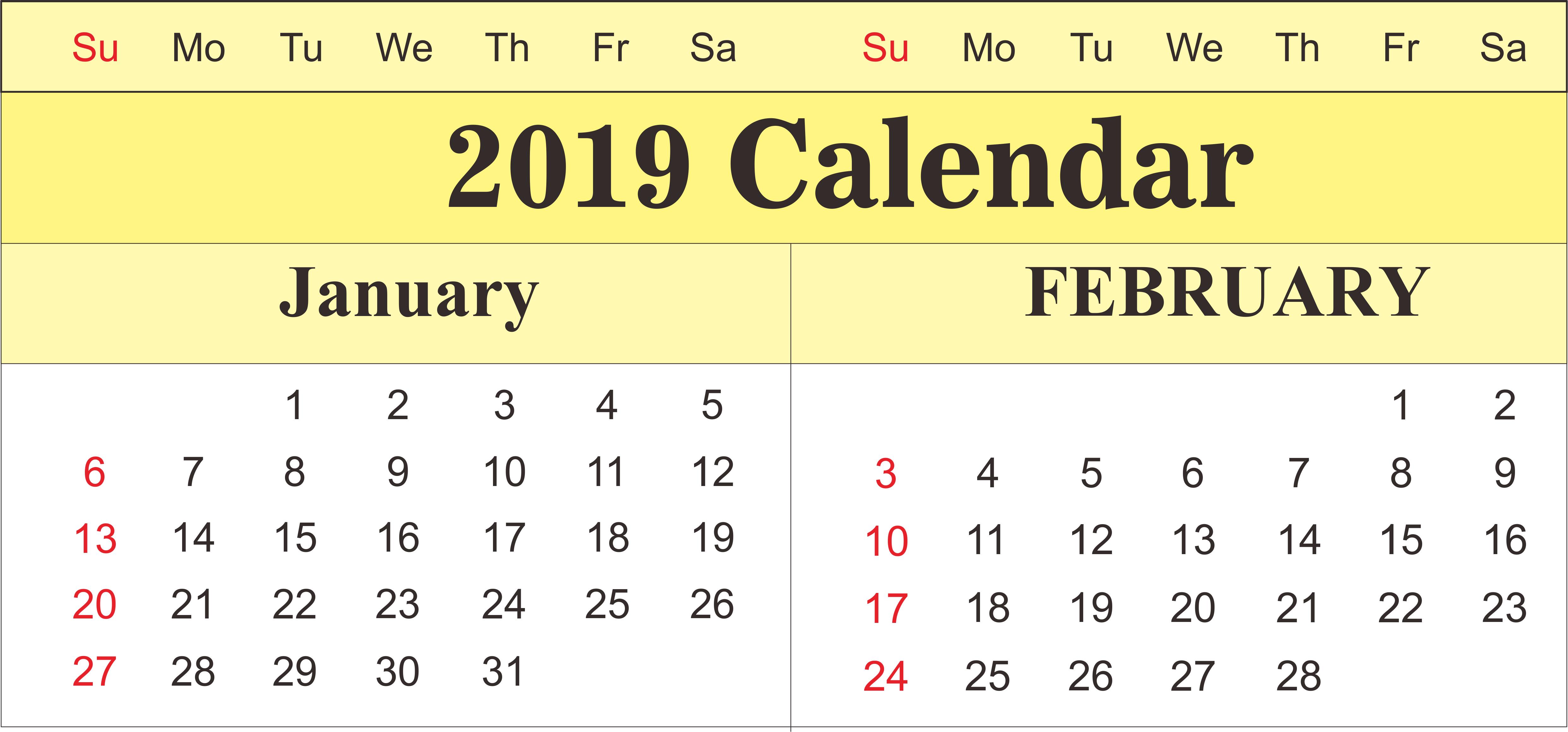 Blank Calendar January February 2019