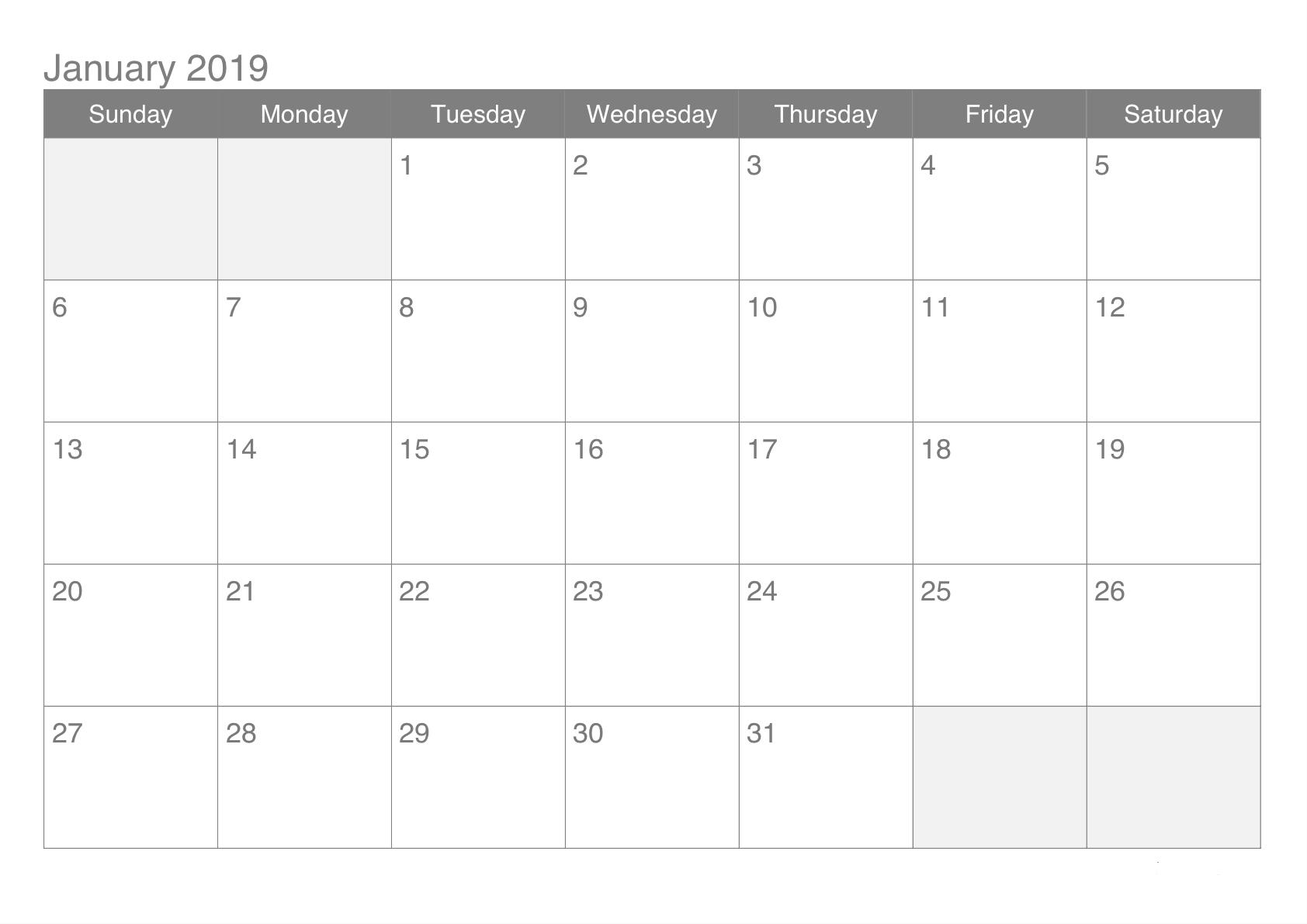 Blank Calendar Pages January 2019 Free Printable Calendar