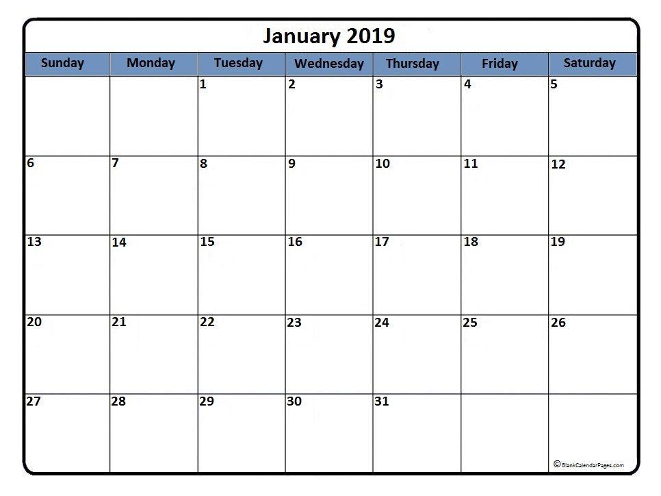 Blank Calendar Template January 2019