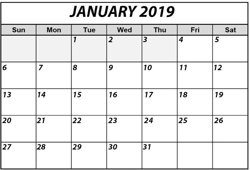 Blank January 2019 Editable Calendar