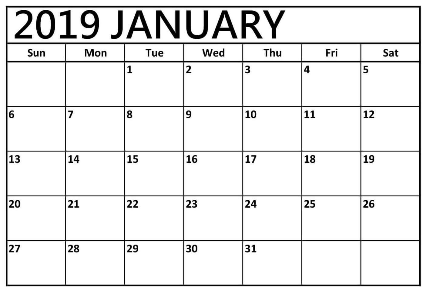 Blank Monthly Calendar January 2019