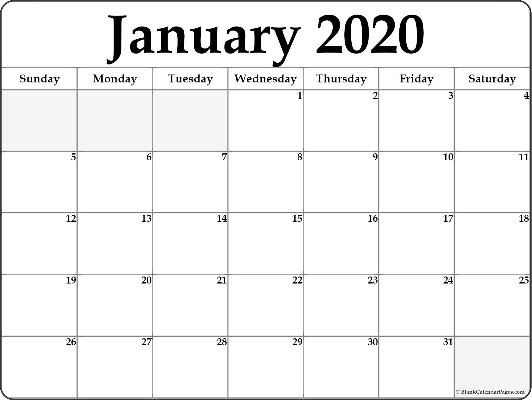 Blank Monthly Calendar  January 2020