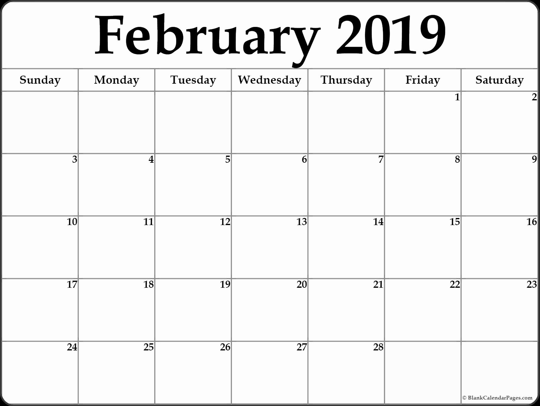 Calendar February 2019