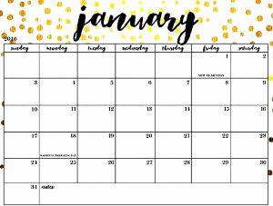 Cute January 2019 Calendar Floral Design