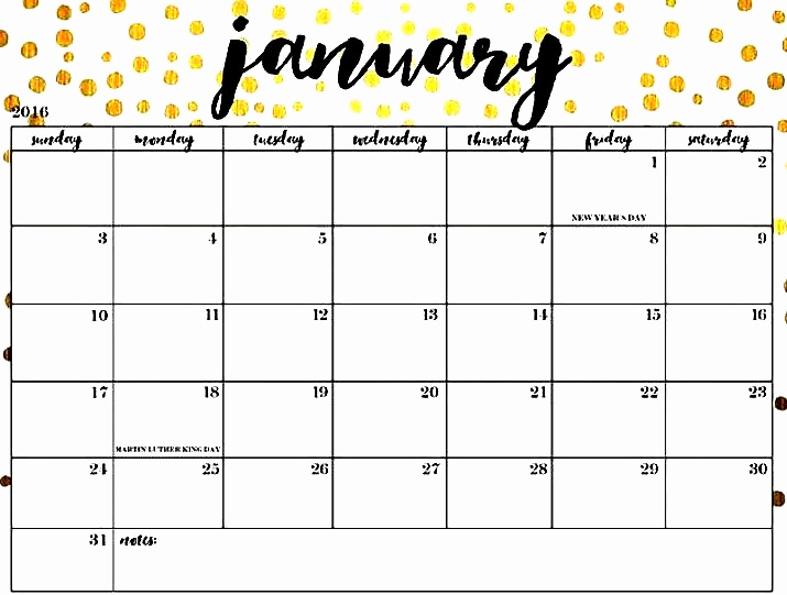 Cute January 2019 Calendar Floral Design