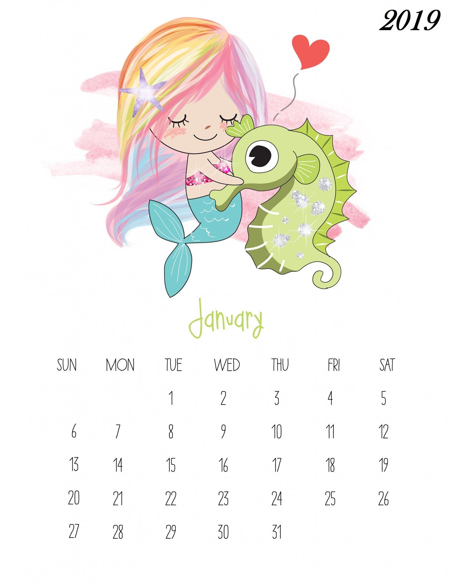 Cute January 2019 Calendar For Kids