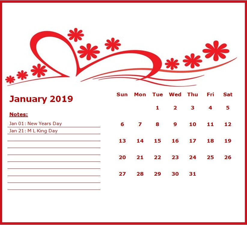 Cute January 2019 Calendar Free Download