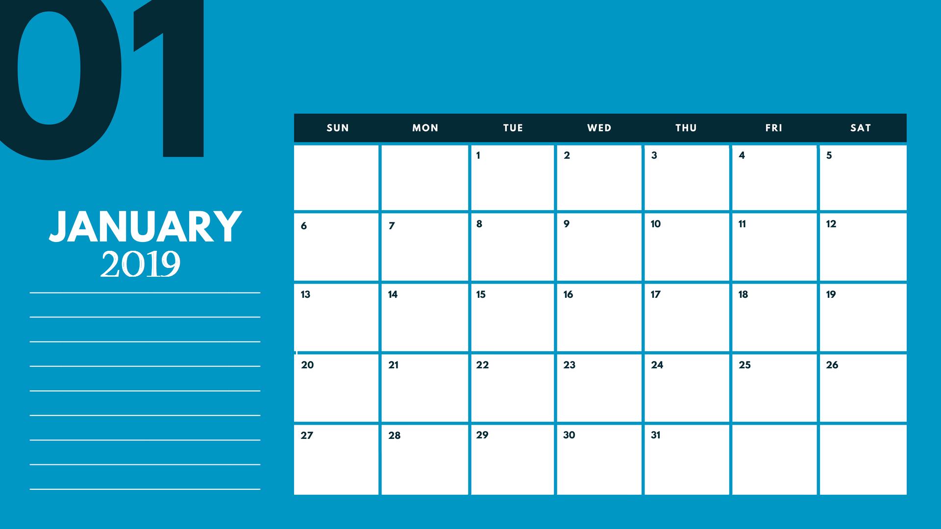 Cute January 2019 Desk Calendar Template