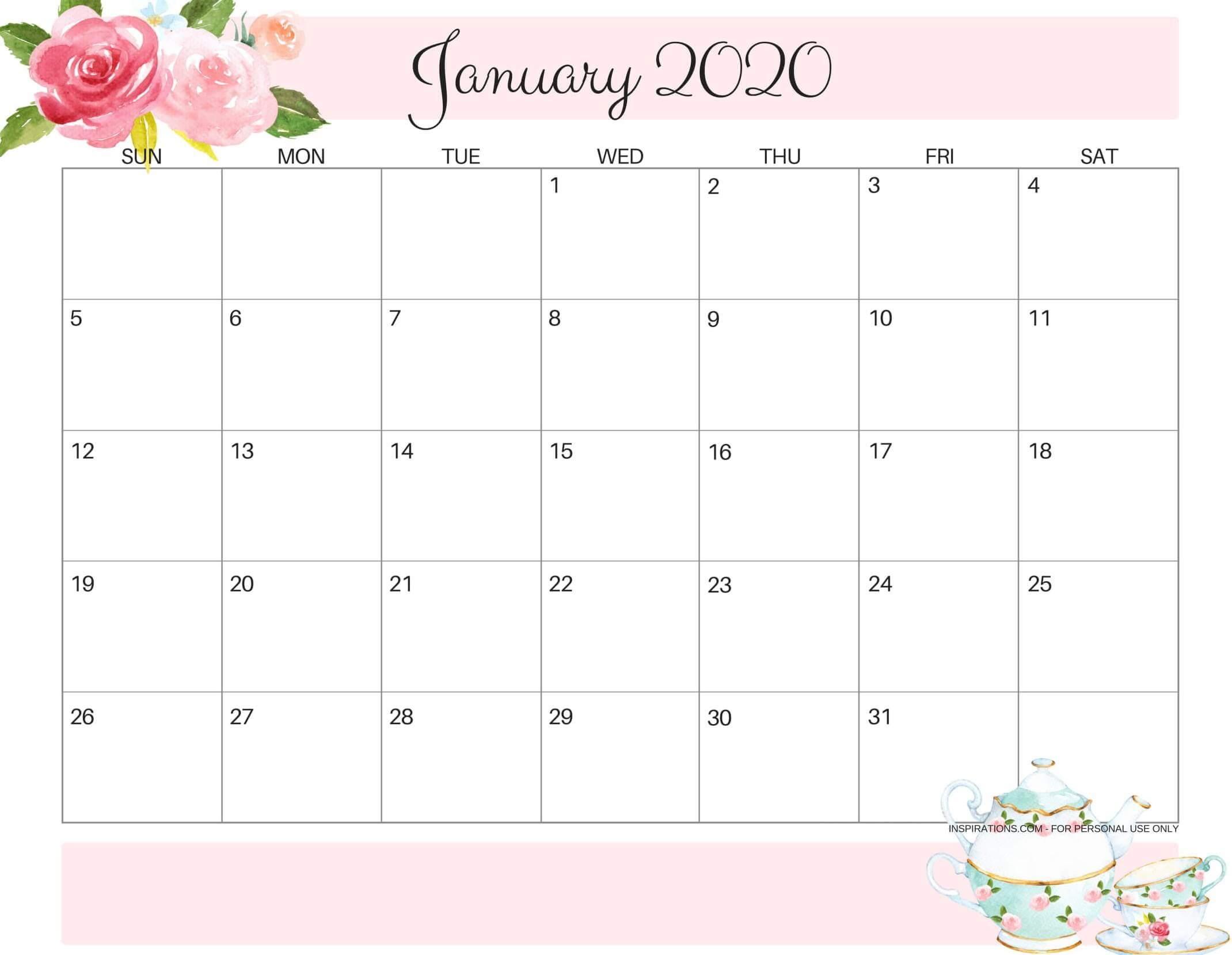 Cute January 2020 Calendar Printable