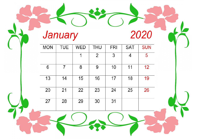Cute January 2020 Calendar Template