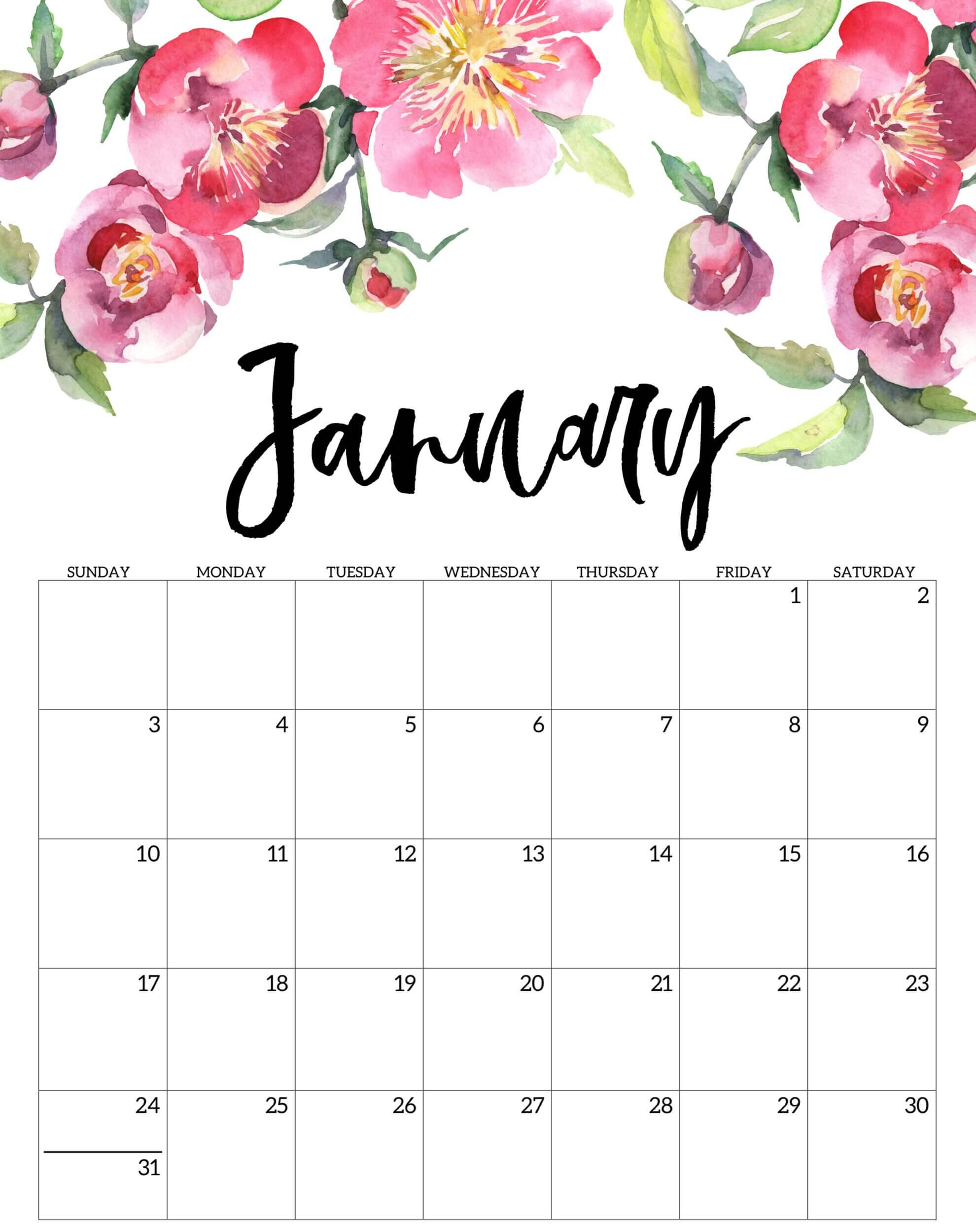 Cute January 2021 Calendar Template - Free Printable 2021 ...