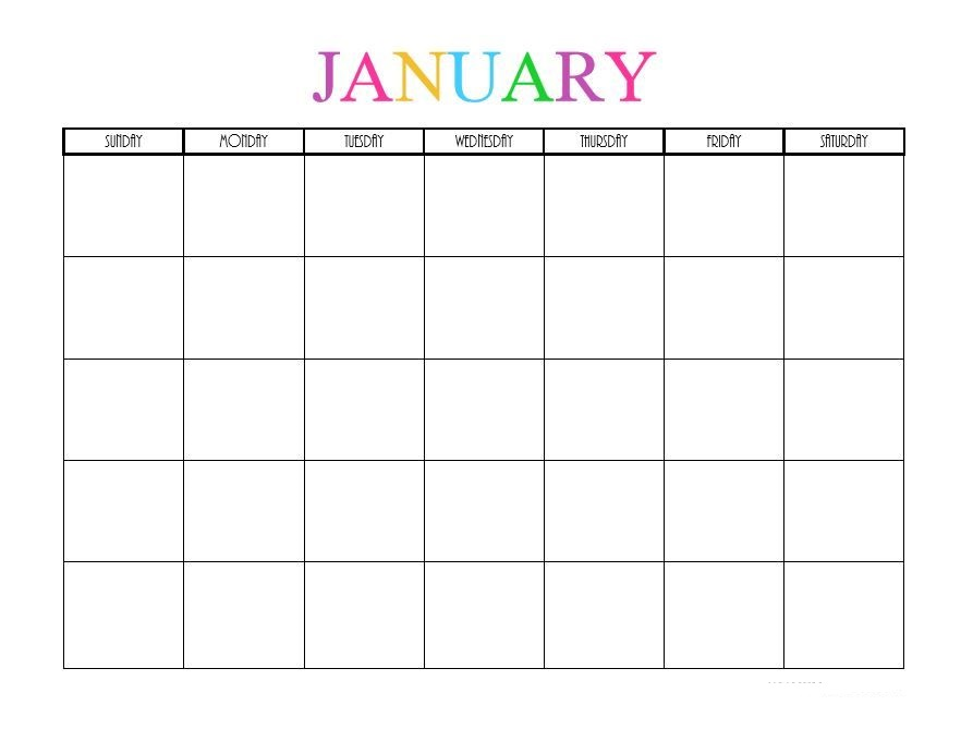 Editable Calendar 2019 For January
