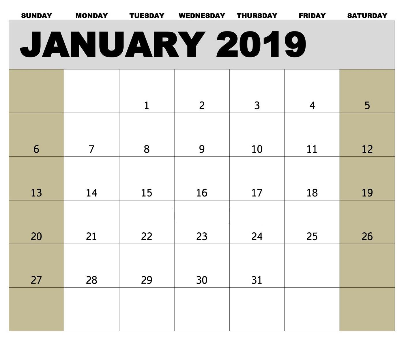 Editable January 2019 Calendar Template Free Printable Calendar
