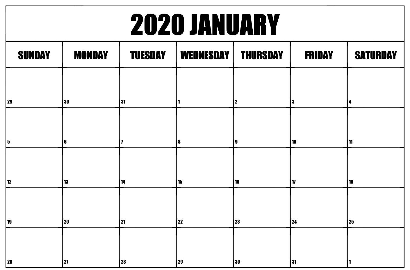 Editable January 2020 Calendar Template