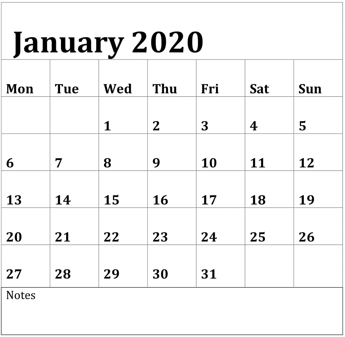 Editable January 2020 Calendar Printable Template With