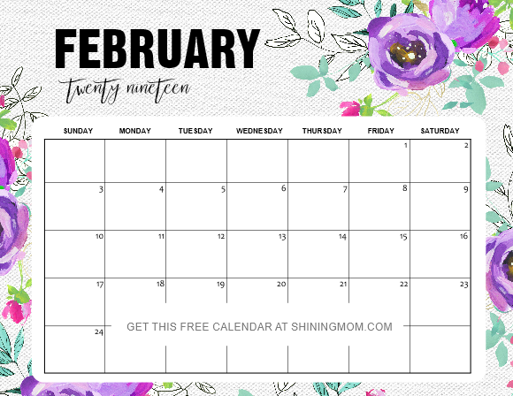 February 2019 Floral Calendar