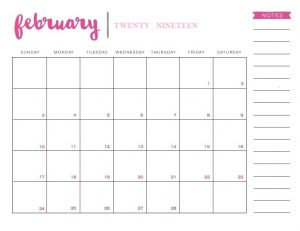 February 2019 Wall Calendar