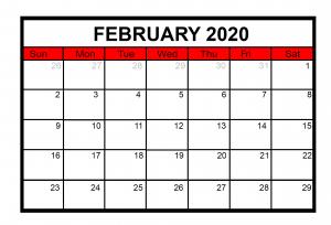 February 2020 Desk Calendar