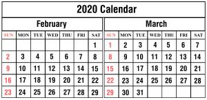 February March 2020 Printable Calendar