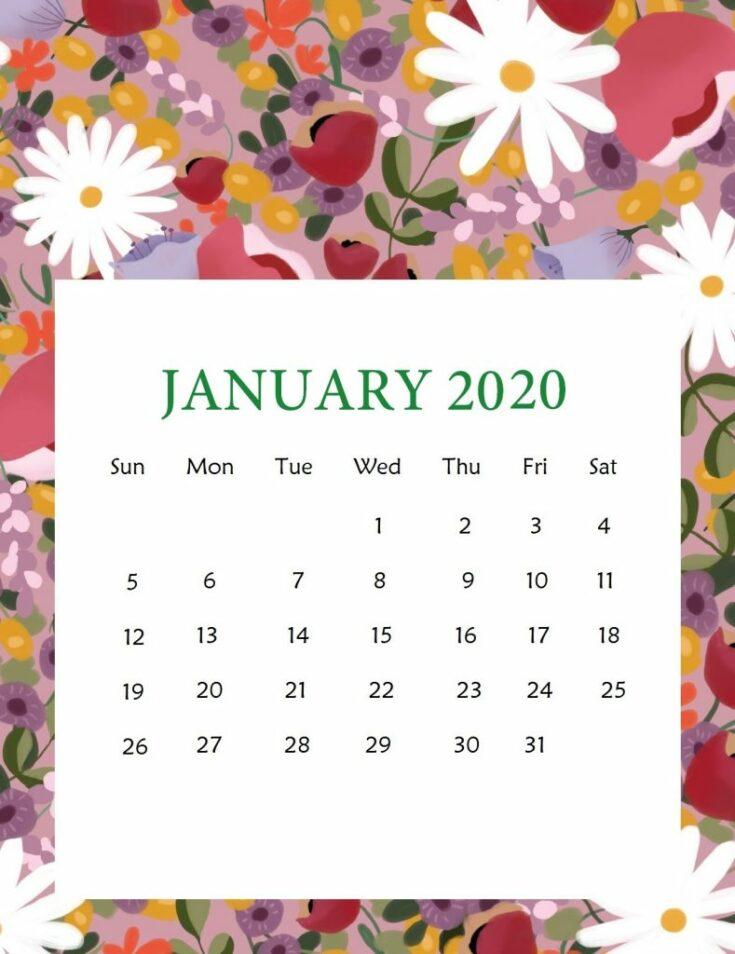 Floral January 2020 Wall Calendar
