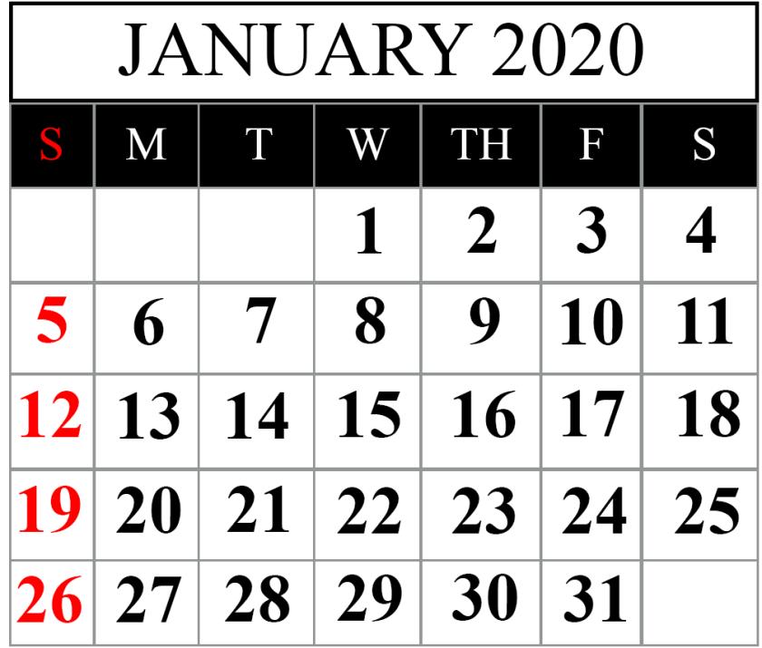 Free January 2020 Calendar PDF