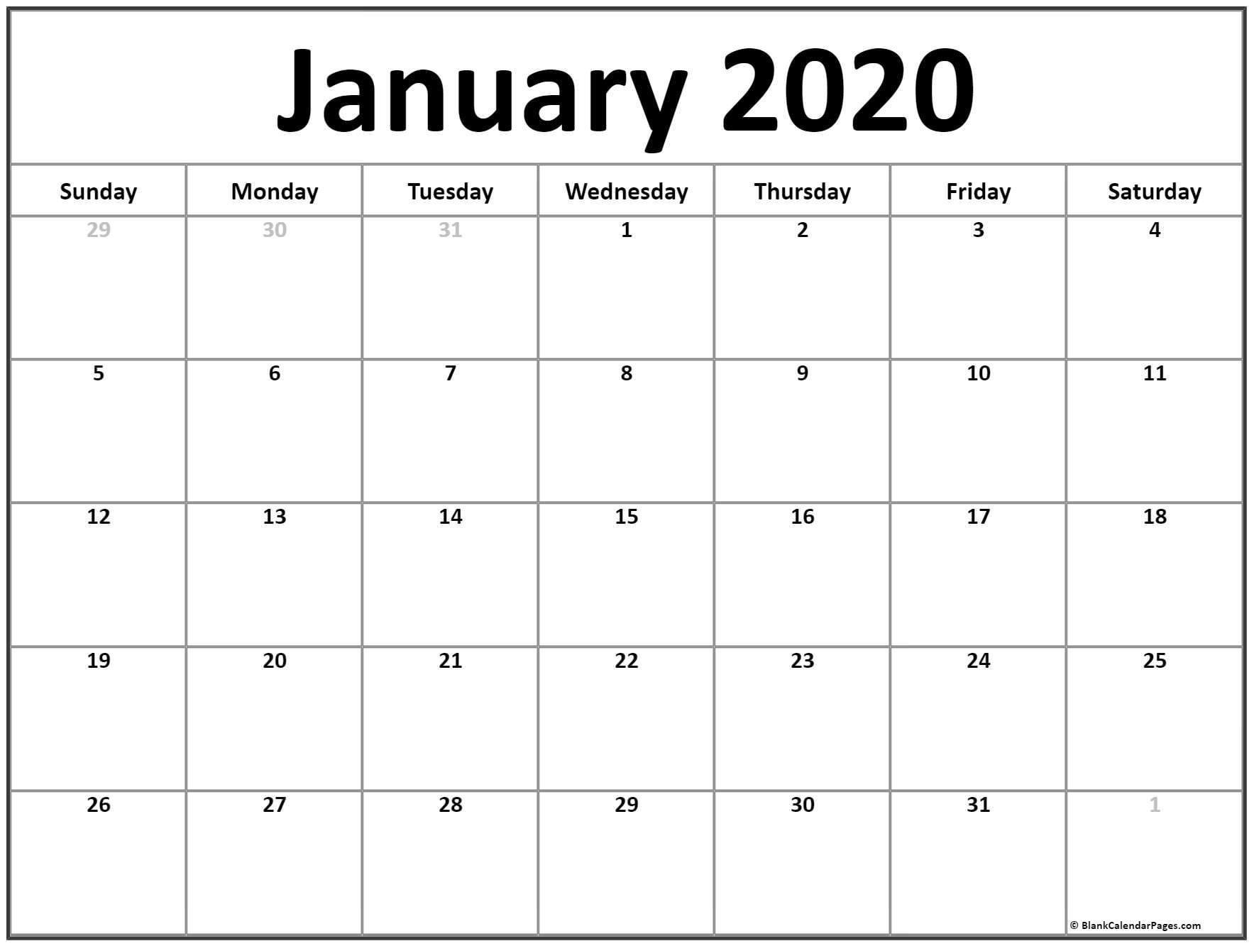 Free January 2020 Printable Calendar