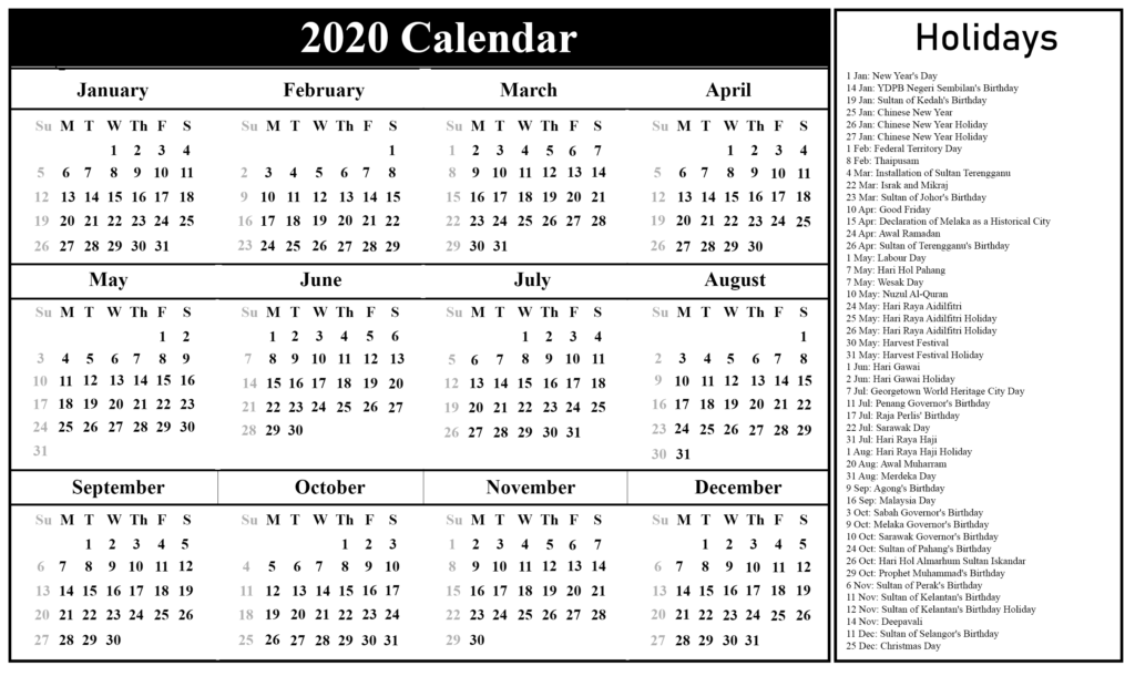 Free Printable 2020 Holidays Calendar Template