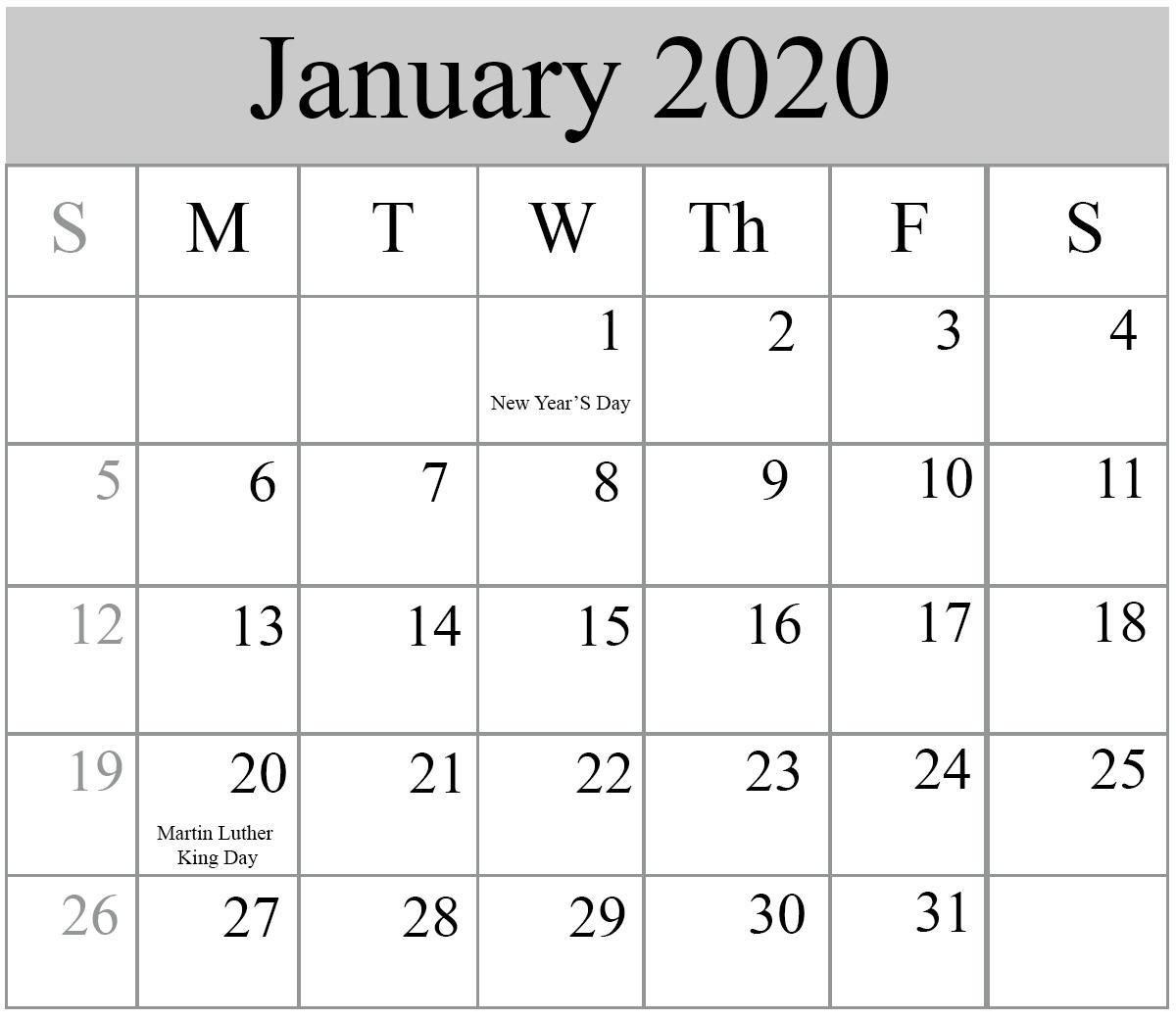 Holidays Calendar January 2020