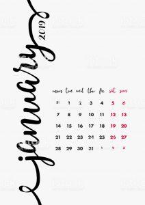 January 2019 Bold Editable Calendar