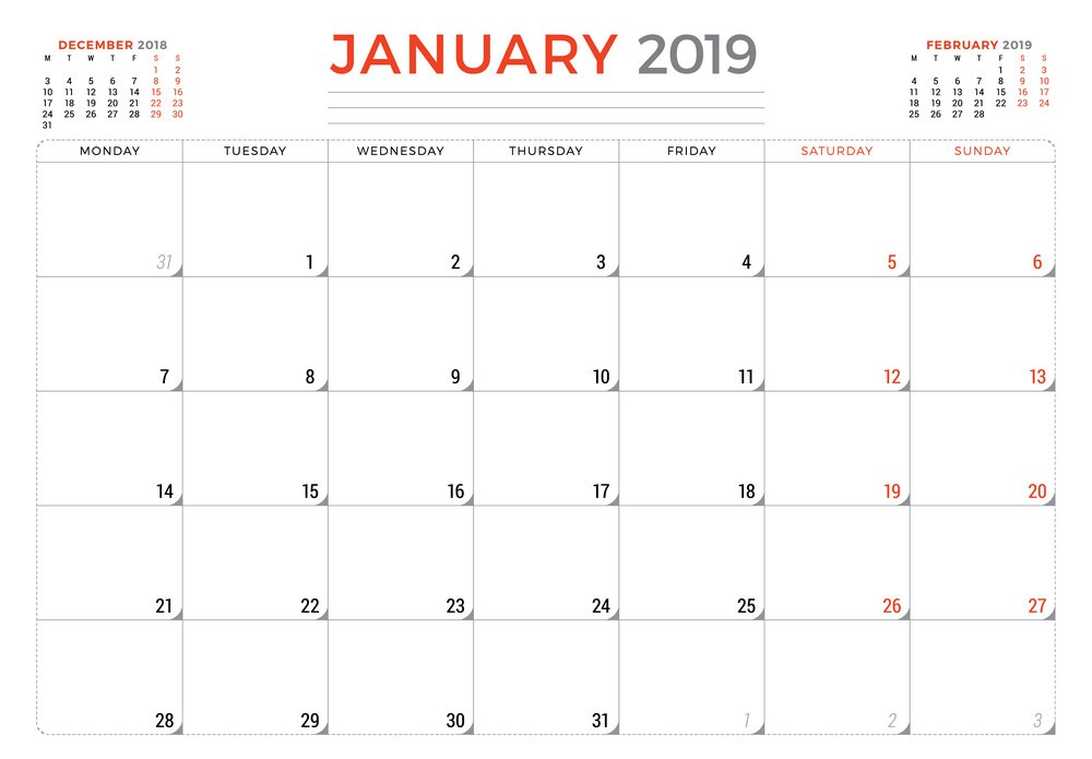January 2019 Calendar Monthly Planner