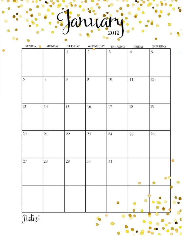 January 2019 Calendar Portrait Format