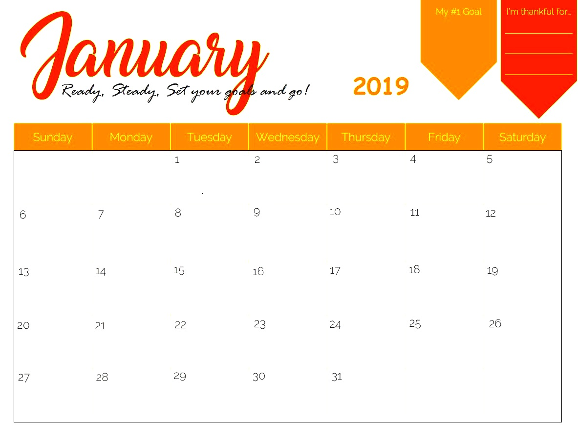 January 2019 Calendar Printable Template