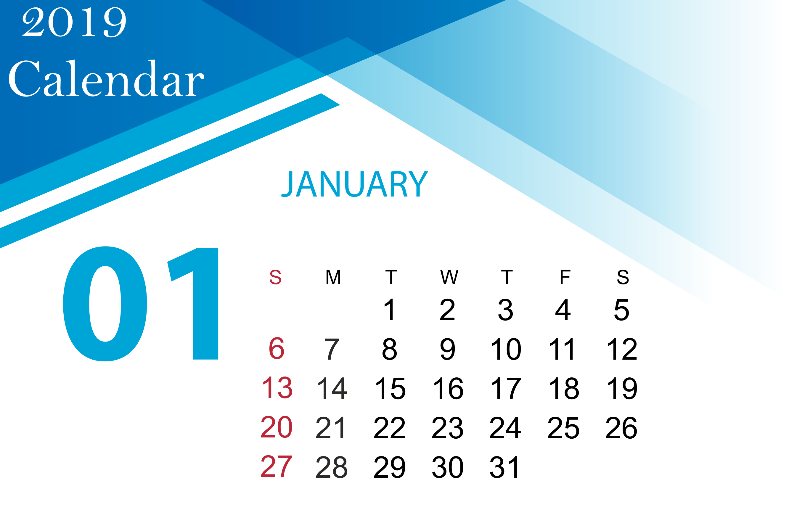 January 2019 Calendar Printable Wallpaper