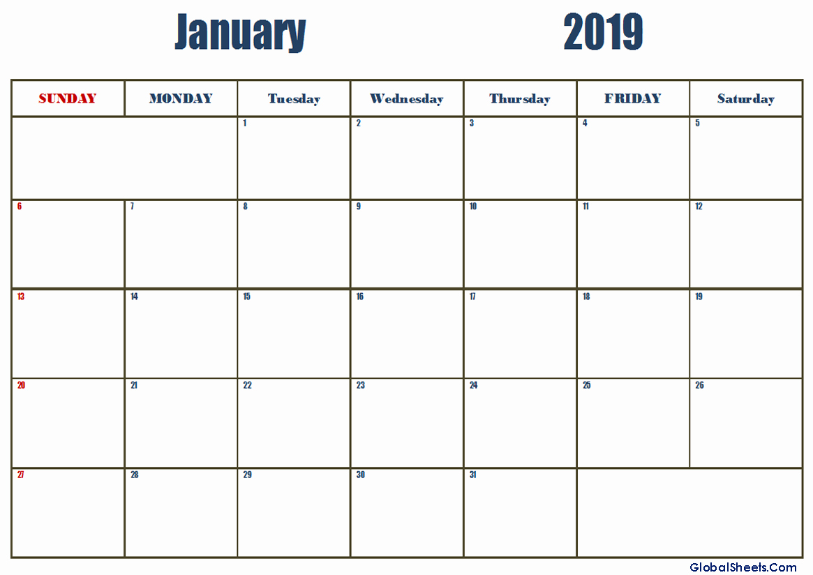 January 2019 Calendar Template Editable