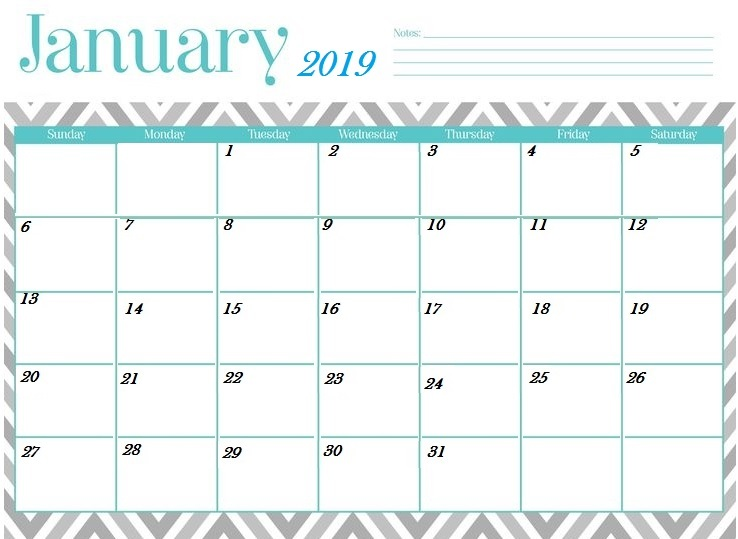 January 2019 Calendar Template With Notes