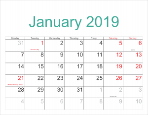 January 2019 Calendar Template With Holidays Free Printable