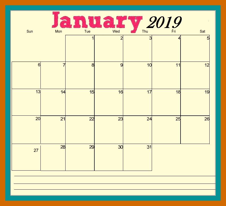 January 2019 Calendar With Holidays India