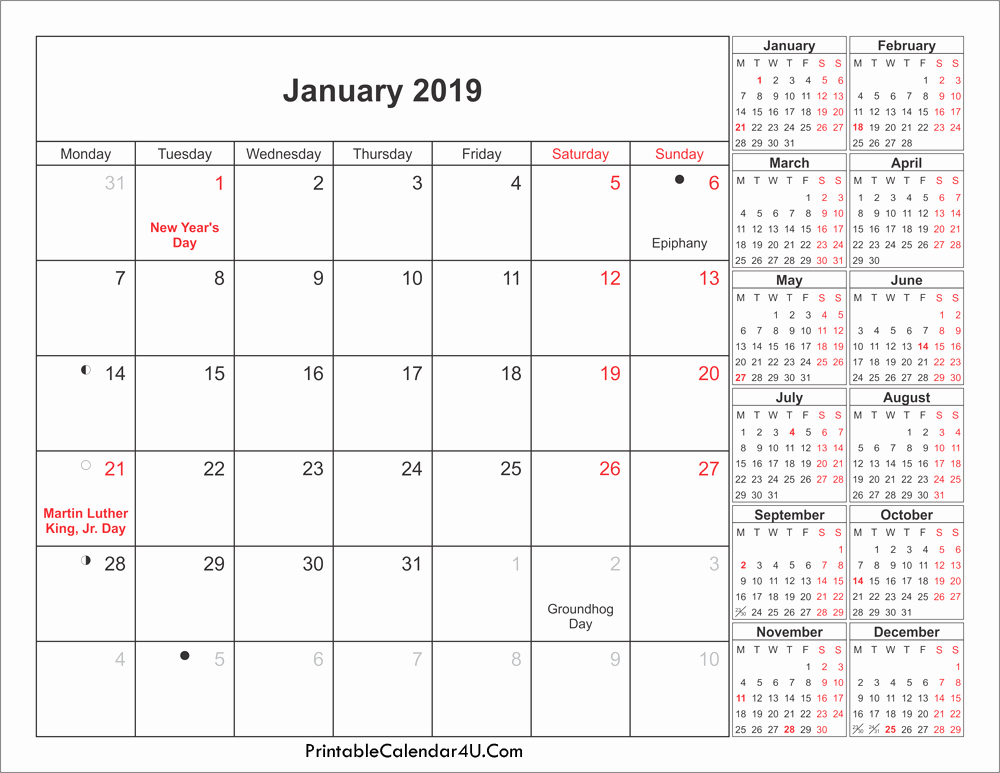 January 2019 Calendar With Holidays Moon Phases