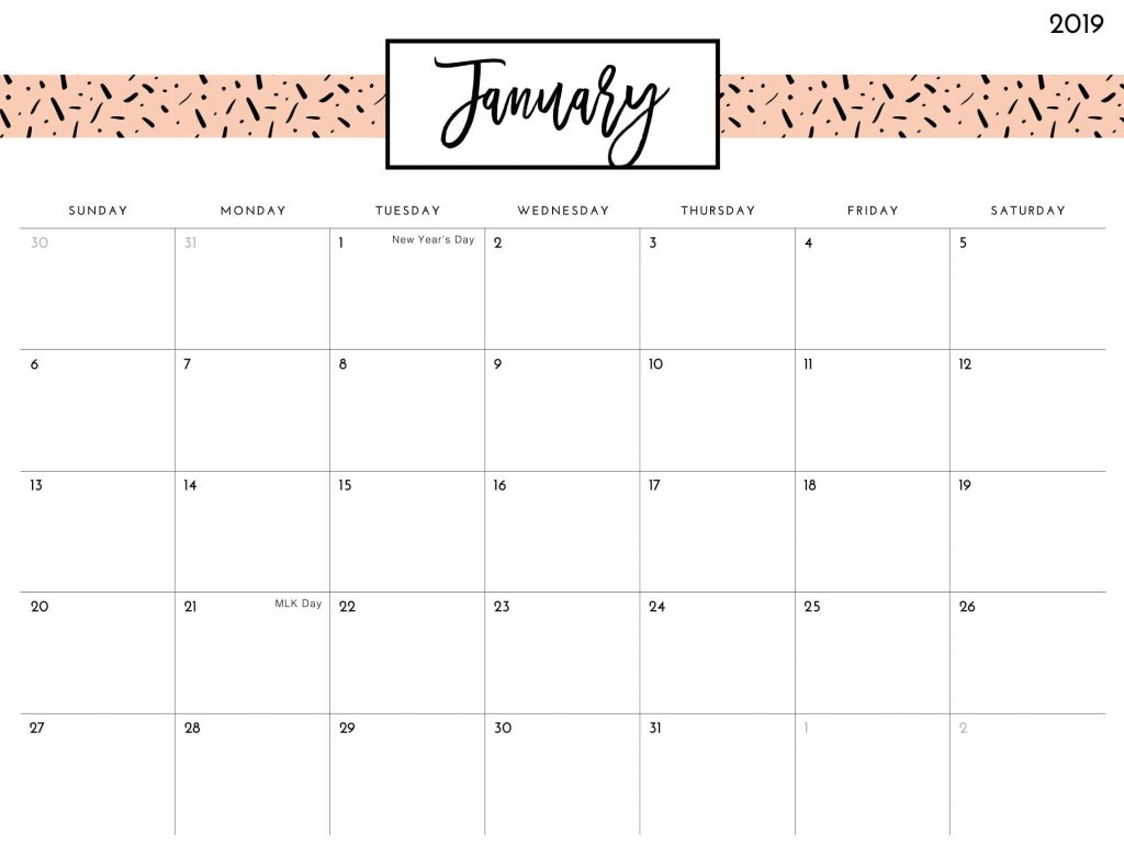 January 2019 Calendar With Holidays