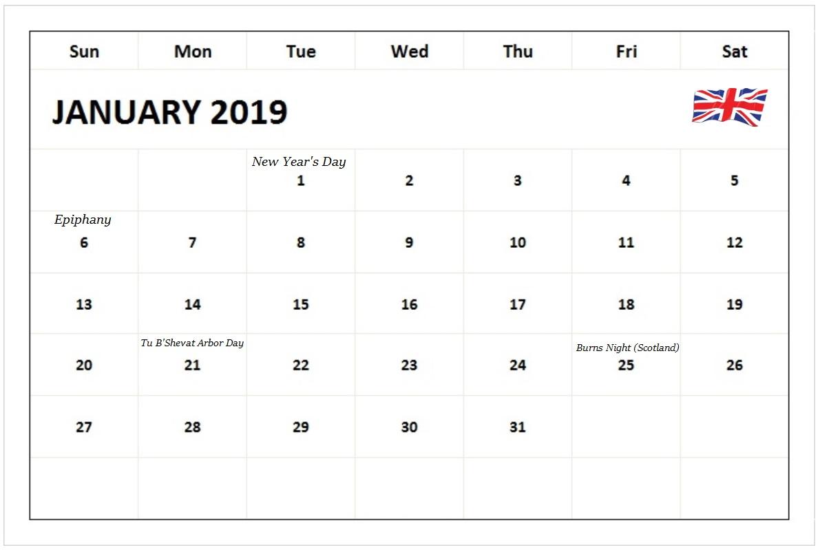 January 2019 Calendar With UK Holidays
