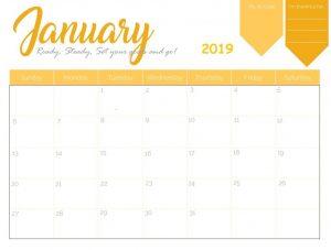 January 2019 Colorful Editable Calendar