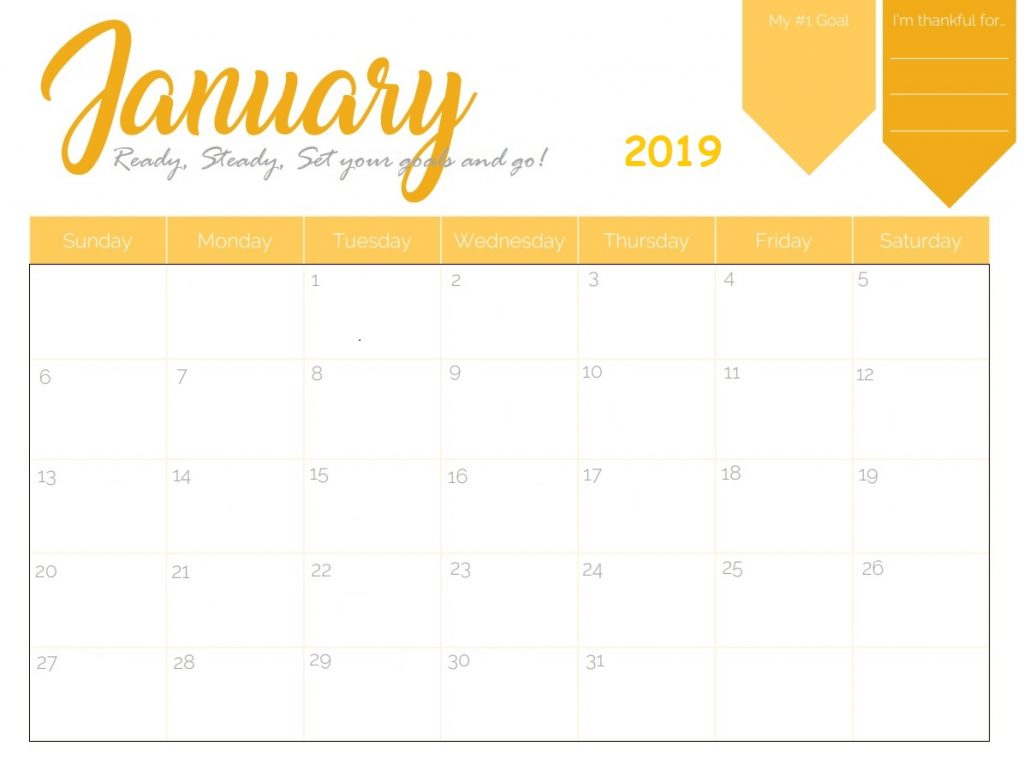 January 2019 Colorful Editable Calendar