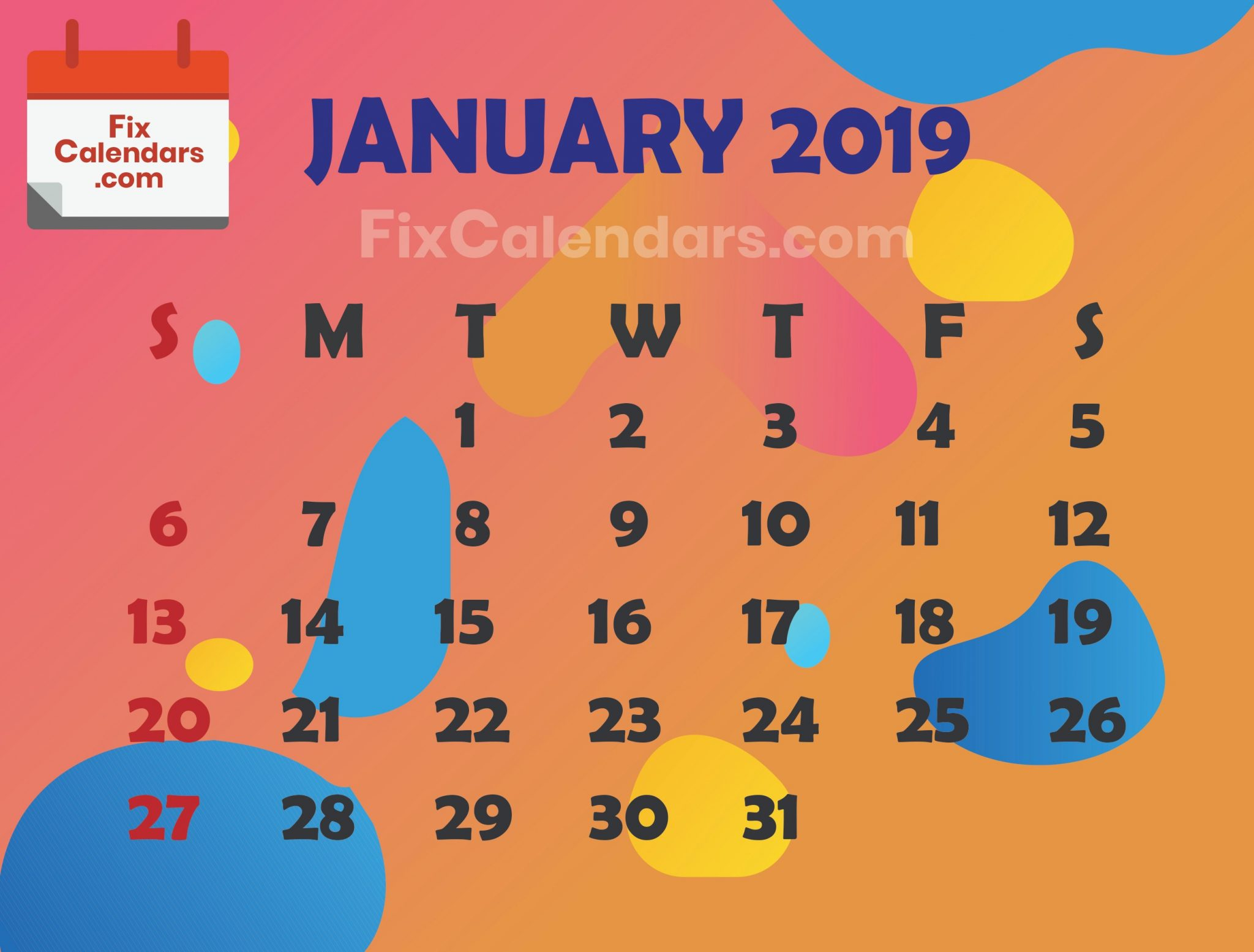 January 2019 Editable Best Calendar
