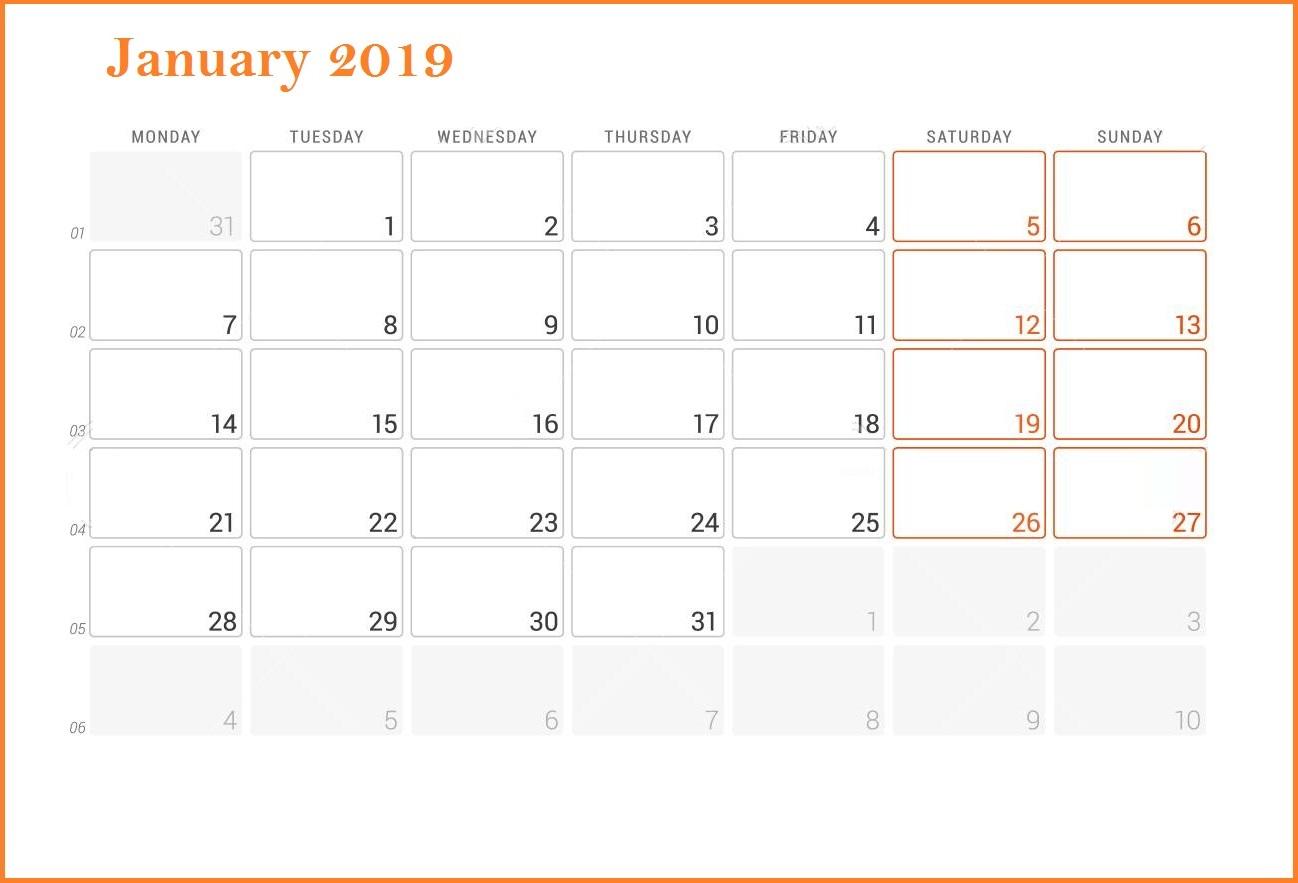January 20191 Editable Calendar