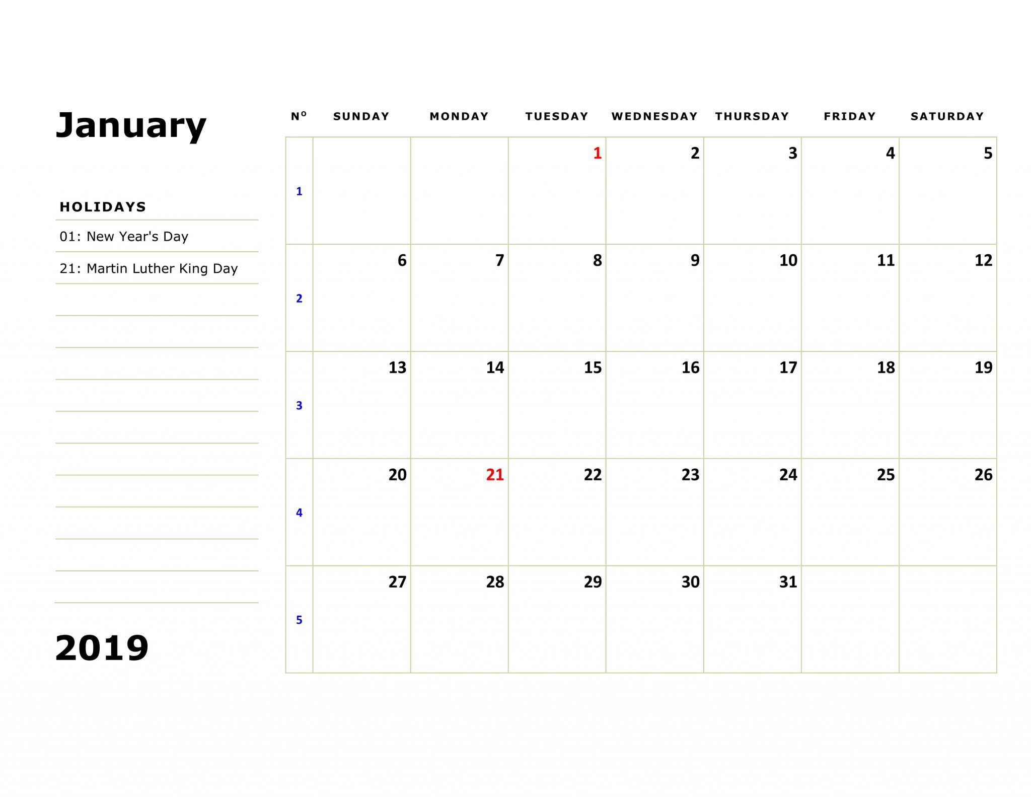 January 2019 Editable Notes Calendar