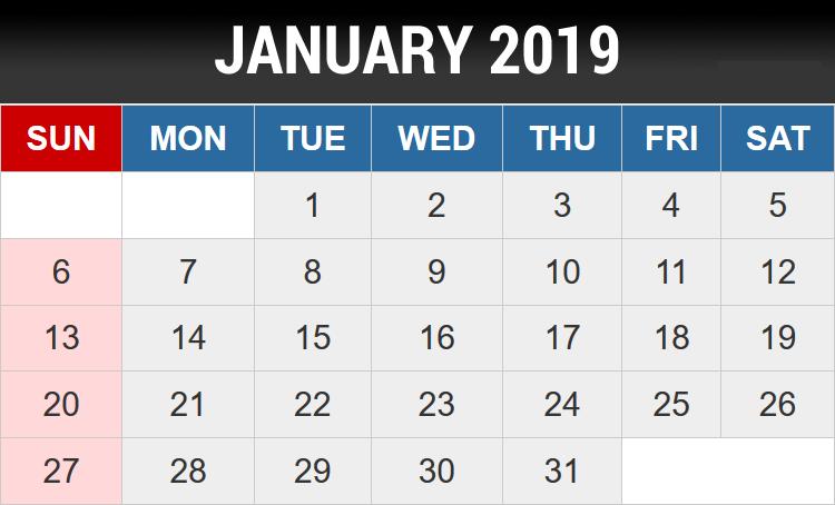 January 2019 Editable Template